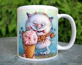 Ice Cream Monster 11oz Whimsical Mug - Sweet Frosty Dessert Cute Playful Watercolor Illustration Art White Ceramic Gift