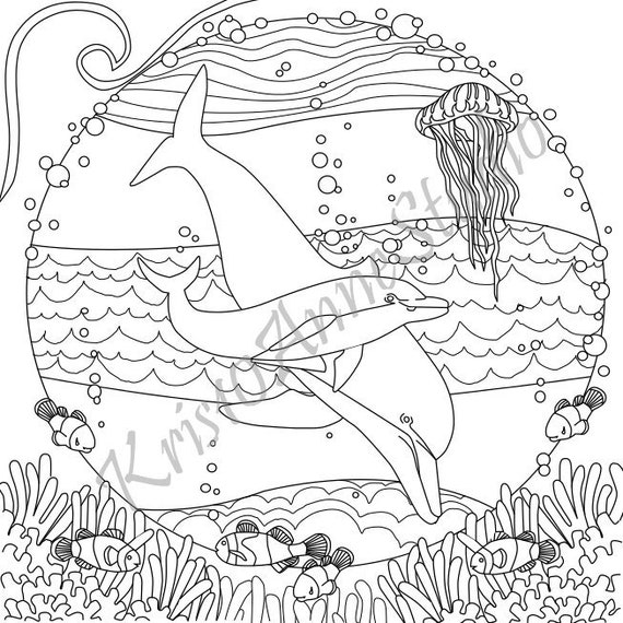 - Printable Dolphin Coloring Page Etsy