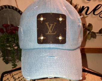 674ec79a963b6 Louis Vuitton inspired distressed blue jean hat