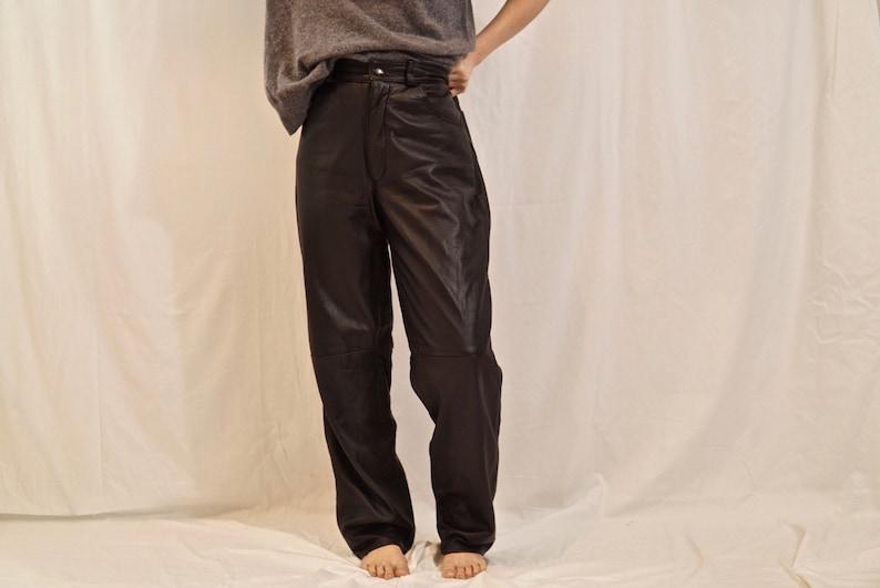 High waisted black leather pants