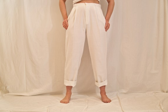 High waisted white school dress pants