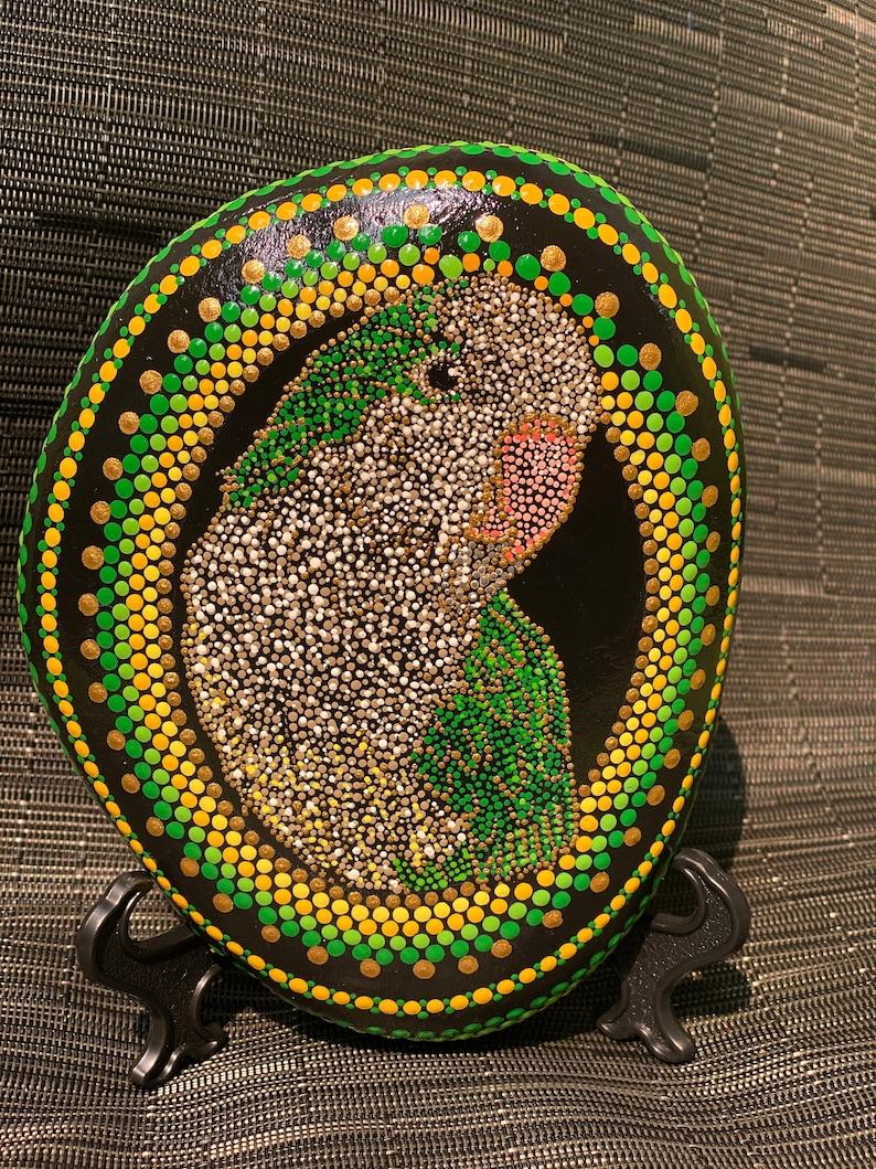Dot ArtMandala Painted Rocks Custom Drawing BIRD Painted Portraits