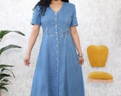 Vintage Denim Dress | 1980s Western Style Maxi Dress | Country Style Denim Dress With Buttons | Ladies Size 6/8 Petite Dress