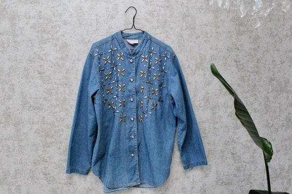 Vintage Oversized  Denim Shirt | 1980s Button Down