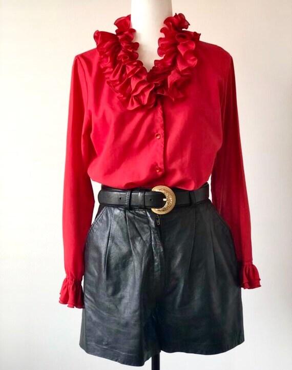 Vintage Ruffle Blouse   1970s Ruffle Collar Blouse