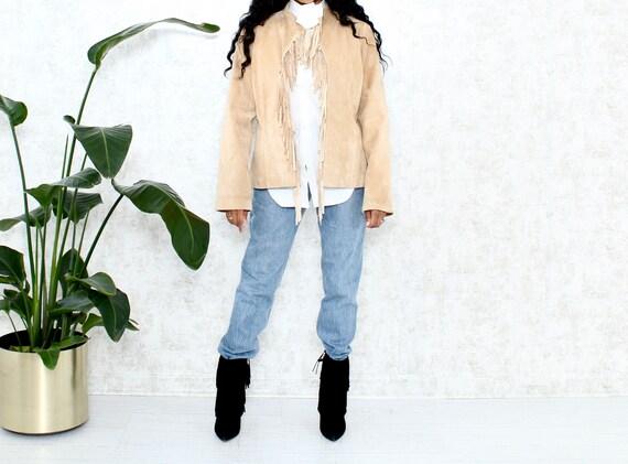 Vintage Suede Fringe Jacket | 1990s Tan Fringe Coa
