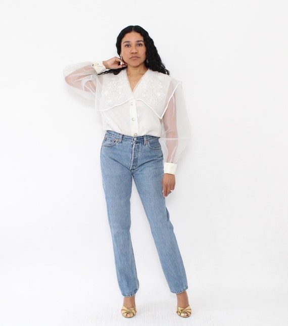 Vintage   1980s   White Sheer Organza Blouse with