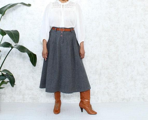 Vintage Full Wool Skirt   1980s Midi Skirt With Po