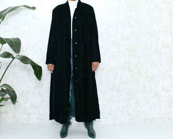 Vintage Velvet Duster | 1990s Emerald Green Duster