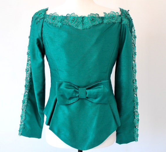 Vintage Green Blouse | 1980s Blouse | Hand Tailor… - image 5