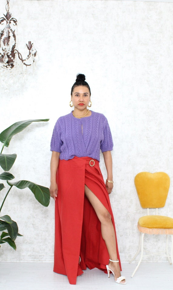 Vintage Maxi Skirt | Red Linen Maxi Skirt with Fan