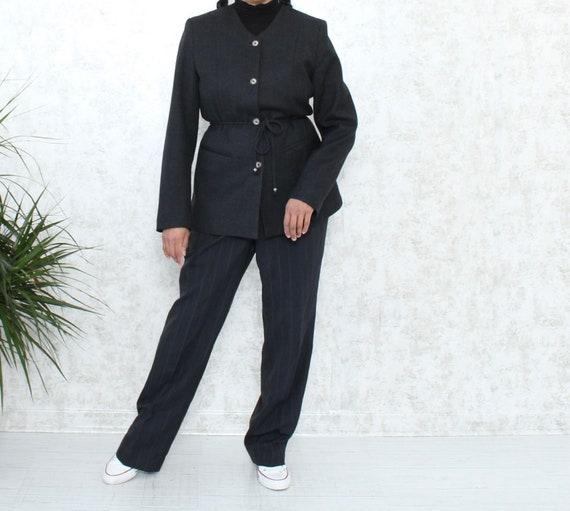 Grey Wool Blazer | Vintage Blazer with Belt | 1980