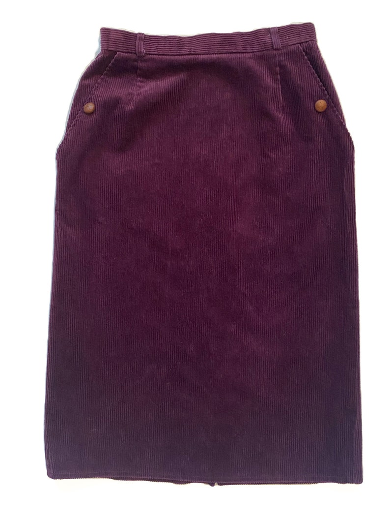 Vintage Purple Skirt Cotton Skirt with Pockets 1980s Purple Corduroy Pencil Skirt Women/'s Vintage Clothing Size Small