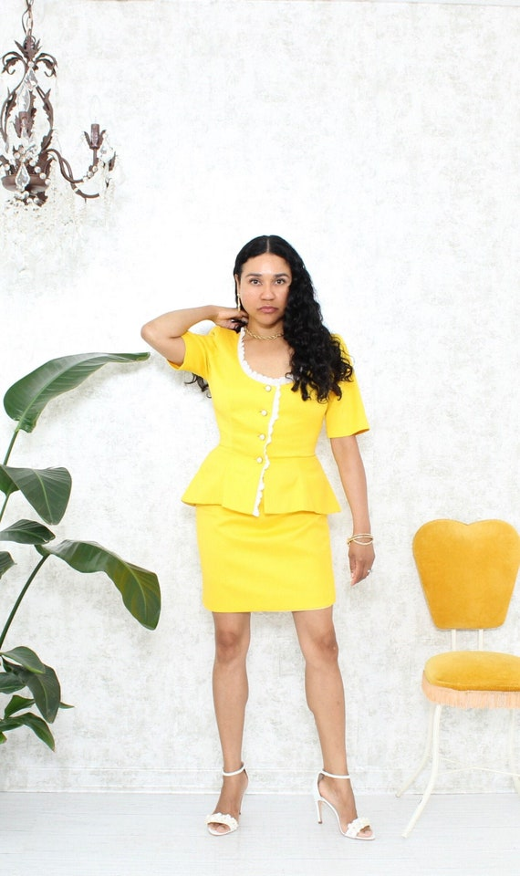 Vintage Skirt Set | 1980s Skirt Set with Ruffle Ja