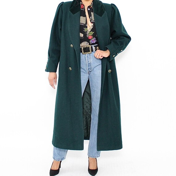 Vintage | 1980s | Green Long Wool Coat | Velvet Co