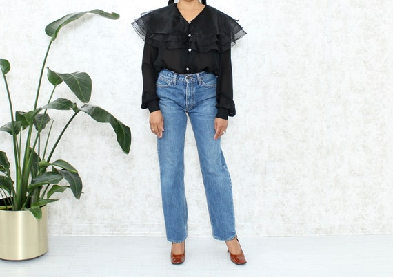 Vintage Organza Blouse | 1980s Sheer Blouse with B