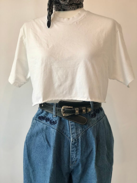 Vintage, '80s High-Waisted, Pleated, Embroidered,