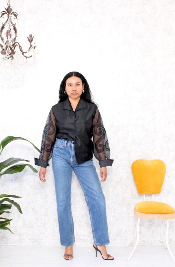 Vintage Blouse | 1980s Black Organza Blouse | Shee