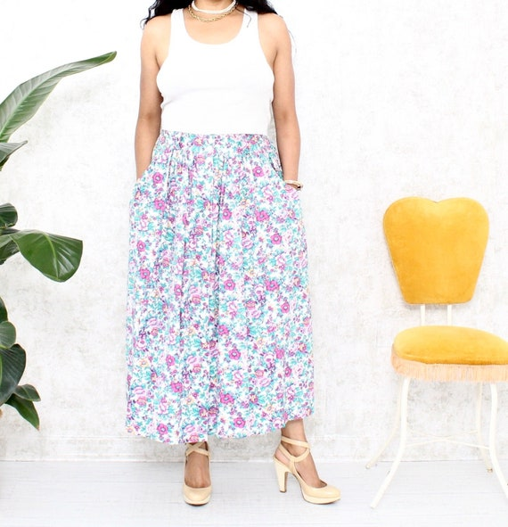 1980s Floral Maxi Skirt | Vintage Maxi Skirt with