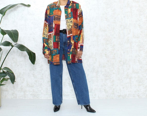 Vintage Oversized Shirt | 1980s Abstract Blouse |