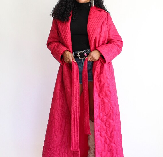 Vintage '80s, Pink Long, Belted, Puffer-Coat, Woma