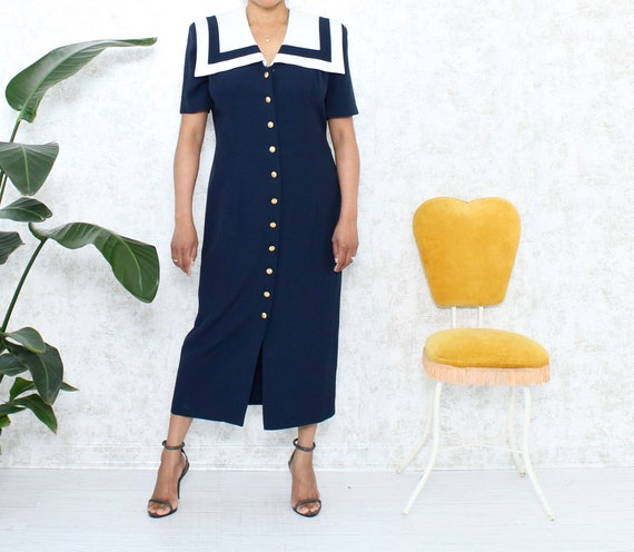 Vintage Oversized Collar Dress | 1980s Maxi Dress