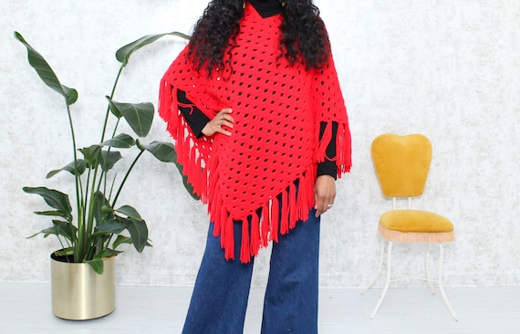 1970s Knit Poncho With Fringe | Vintage Hand Knit