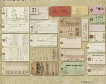 Collage Mixed Media, SCRAP PACK  25  Pc Salvaged TAGS Kit by Tim Holtz for Altered Art