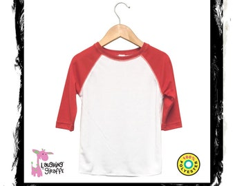 58c100b8 Baby Raglan T-Shirt White/Red 3/4 Sleeve, infant tee, toddler tee,  sublimation blank. POLYBLANKS4U. 5 out of ...