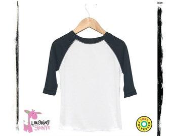 d95d98d26f7b1 Baby Raglan T-Shirt White Black 3 4 Sleeve