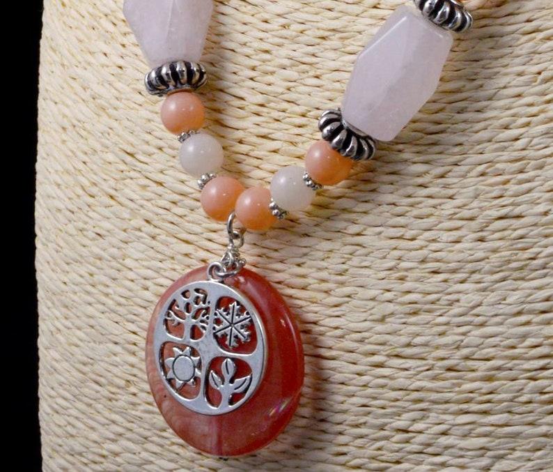 Cherry Quartz /& Pink Quartz Seasons of Life Necklace and Earrings