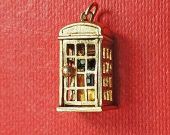 Vintage 9ct 1993 Gold Telephone Box Charm Pendant
