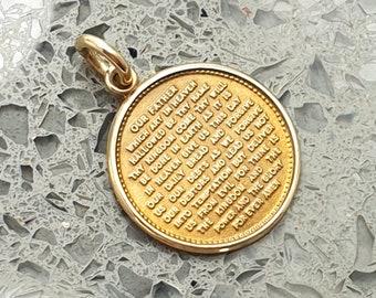 Vintage 1987 9ct Gold Lord's Prayer Charm / Pendant