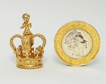 1978 Vintage 9ct Royal Crown Saint Edward's Coronation Large Pendant Charm