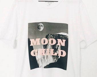 262d25f2 Moon Child Graphic Boyfriend Tee Shirt, Organic Cotton Tshirt, Moon Print,  Vintage Inspired, Pink Slogan, Cool Graphic Print, Black White