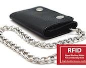 RFID Blocking Black Mens Leather Biker 39 s Chain Trifold Wallet Trucker Motorcycle