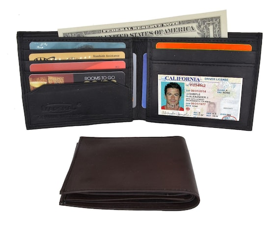 BLACK MEN/'S LEATHER THIN TRIFOLD WALLET ID CREDIT CARD ID HOLDER