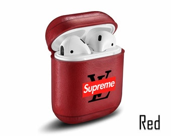 4b174339f446 Inspired by Louis Vuitton Airpods case Supreme logo Louis Vuitton Supreme  Leather case LV Vintage case LV Supreme Leather Airpods case