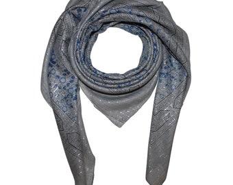 78160a2d9602ec Baumwolltuch - Indisches Muster 1 - grau - dunkelgrau Lurex silber - quadratisches  Tuch