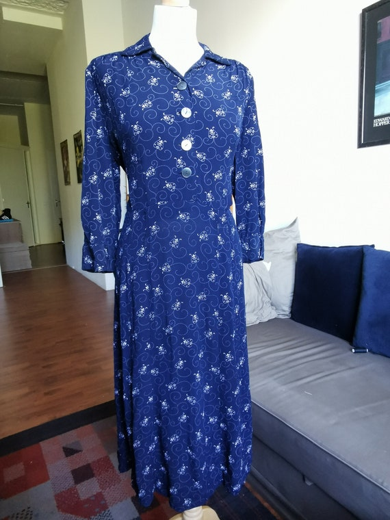 1940's deep navy white pattern rayon dress Size L-
