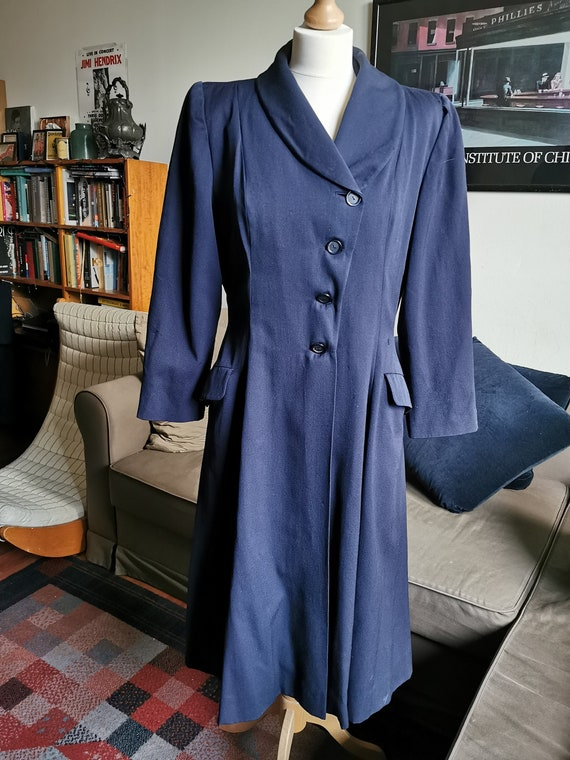1940's navy gabardine princess coat Size M-L
