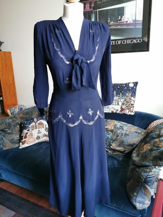 Late 30's/early 40's semi-sheer navy rayon dress s