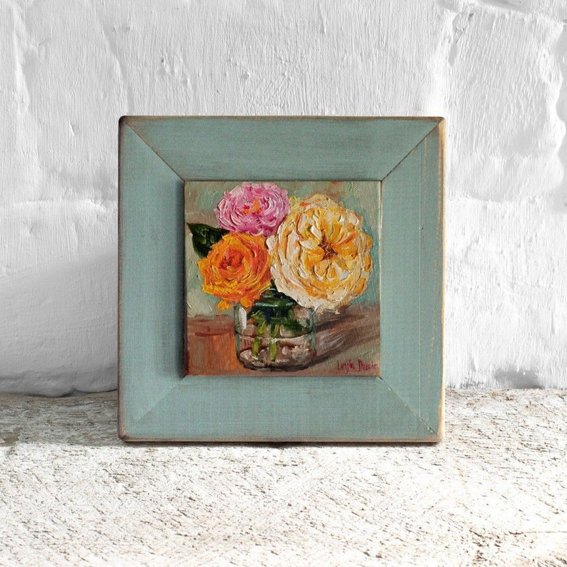 Pink roses bouquet oil painting  flowers in vase shabby chic roses mini painting 6x6