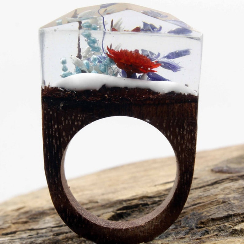 Wood ring with flower Wooden ring for women Wood resin ring women jewelry Statement ring