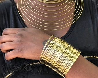 Set of African Brass Chocker and Bracelet, Handmade Brass Long Necklaces , Boho Necklace, Brass Women Jewelry, Mom Gifts, Christmas Gifts,