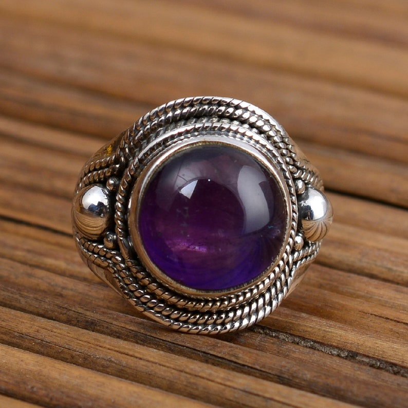 Sterling silver ring for woman A+ Gemstone ring sterling silver ring natural amethyst  handmade ring
