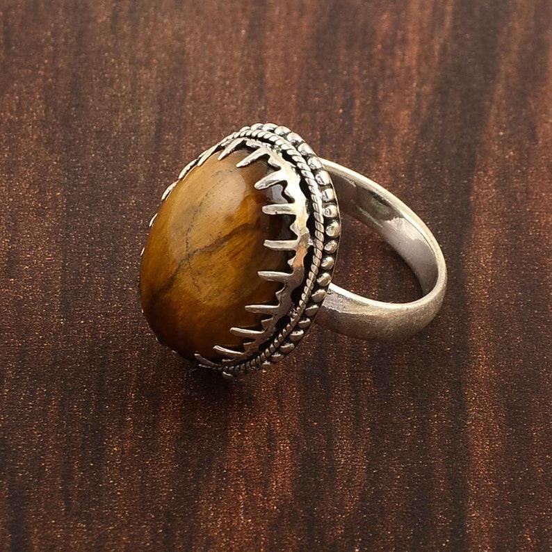 valentine ring Natural tiger eye gemstone silver Design ring sterling silver ring Love ring handmade ring natural Tiger eye
