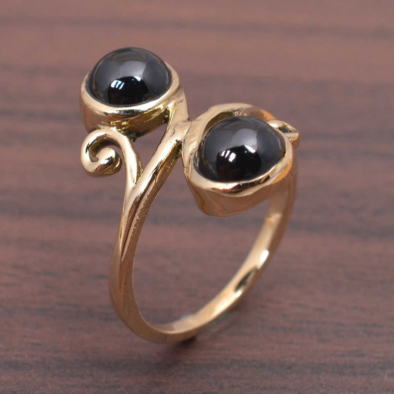 brass metal ring man wedding ring gold metal ring Two Gemstone Black spinel brass ring brass,jewelry heavy metal ring solid metal ring
