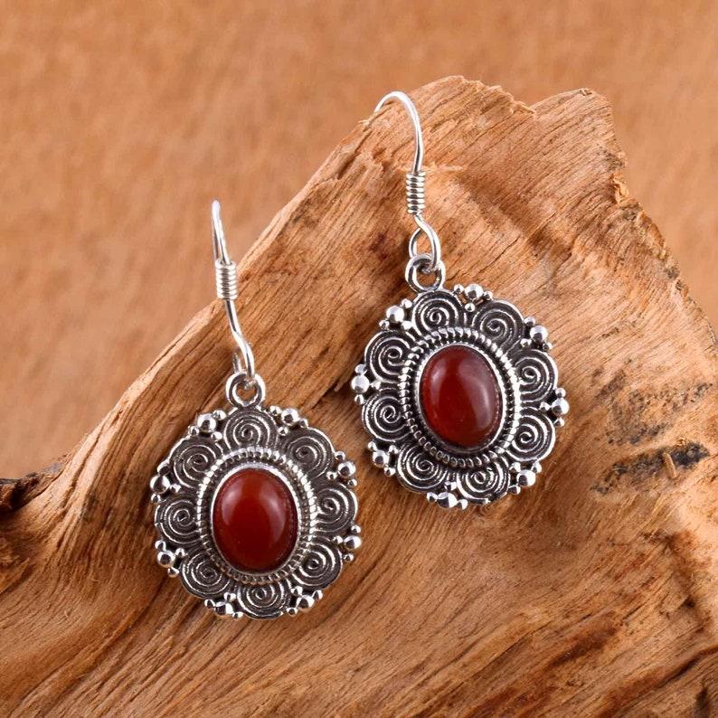 natural gemstone earrings Carnelian earrings silver wire earrings sterling silver earrings drop and dangle earrings