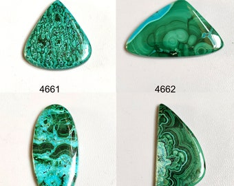 Malachite Designer Cabochon Hand Cut in a Free Form Shape With Beautiful Zoning 69.4 x 28.3 x 5mm #2118MAL